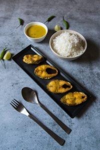 Bengali style lunch menu fried fish