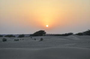Sunset over the desert, Rajasthan, India.